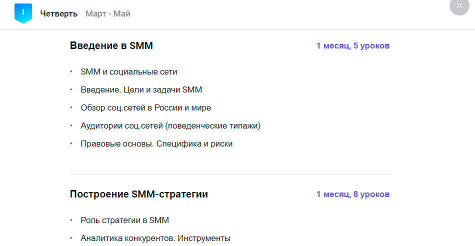 Программа курса SMM от GeekBrains