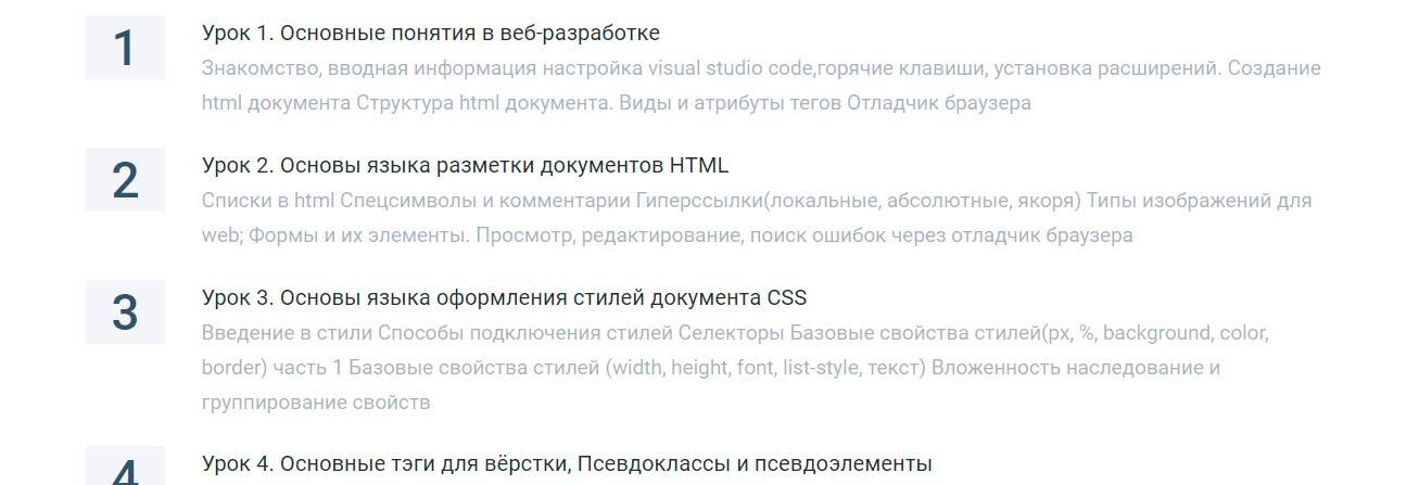 План курса HTML CSS от Geekbrains