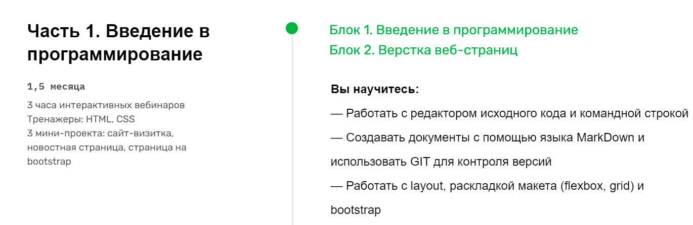 Программа курса профессия веб-разработчик от Skillfactory